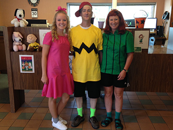 Bank of Washington employees dressed up as the Peanuts gang for Halloween 2015