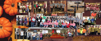 Collage of Bank of Washington employees dressed up for halloween 2016