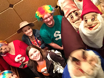 Bank of Washington employees in the elevator dressed up for Halloween 2015