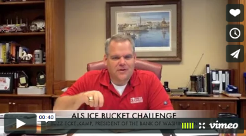 Screenshot of Bank of Washington president challenging employees to raise money for ALS Ice Bucket Challenge