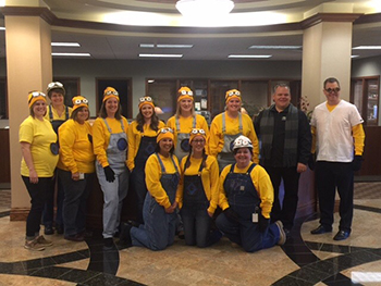 Bank of Washington employees dressed up as characters from Despicable Me for Halloween 2015