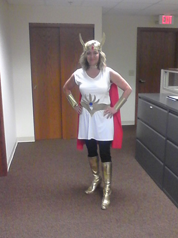 Bank of Washington employee dressed up as superhero for Halloween 2015