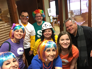 Bank of Washington employees dressed up as Skittles and characters from Despicable Me for Halloween 2015