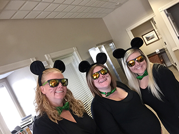 Bank of Washington employees dressed up as the three blind mice for Halloween 2015