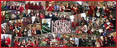 Collage of Bank of Washington employees dressed festively for the holidays
