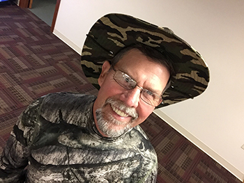 Bank of Washington employee dressed up as a hunter for Halloween 2015