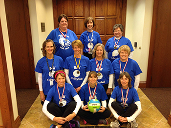 Bank of Washington employees dressed up as a volleyball team for halloween 2015