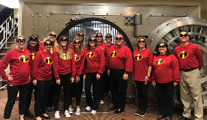 Bank of Washington employees dressed up as the Incredibles for Halloween 2018